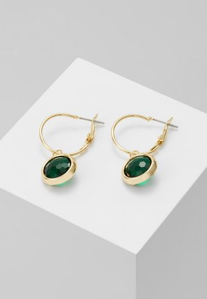 ELDINA SMALL ROUND EAR - Øreringe - gold-coloured/green