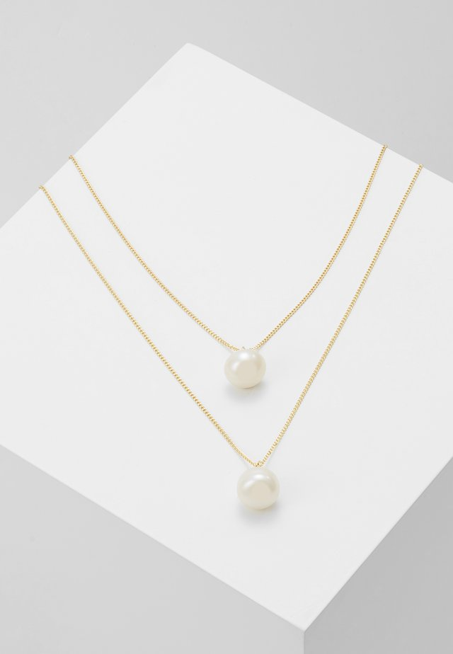 ISABELLA DOUBLE PENDANT NECK - Necklace - gold-coloured/white