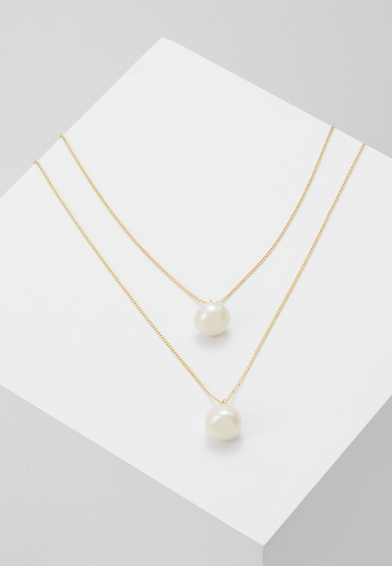 SNÖ of Sweden - ISABELLA DOUBLE PENDANT NECK - Collar - gold-coloured/white
