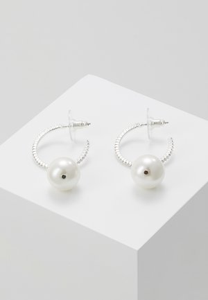 SILK SMALL OVAL EAR  - Náušnice - white