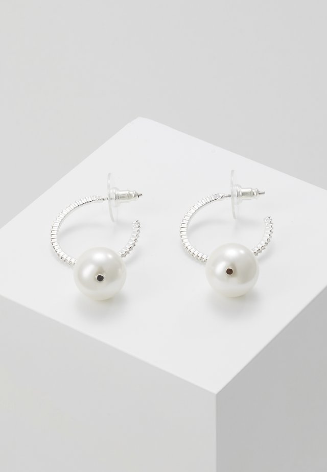 SILK SMALL OVAL EAR  - Earrings - white