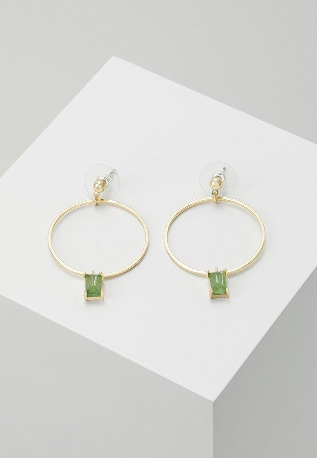 SATIN RING PENDANT EAR  - Earrings - green