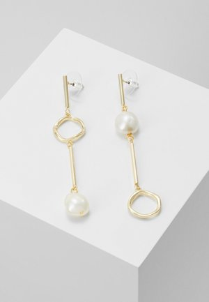 MAXIME LONG PENDANT EAR - Earrings - gold-coloured/white
