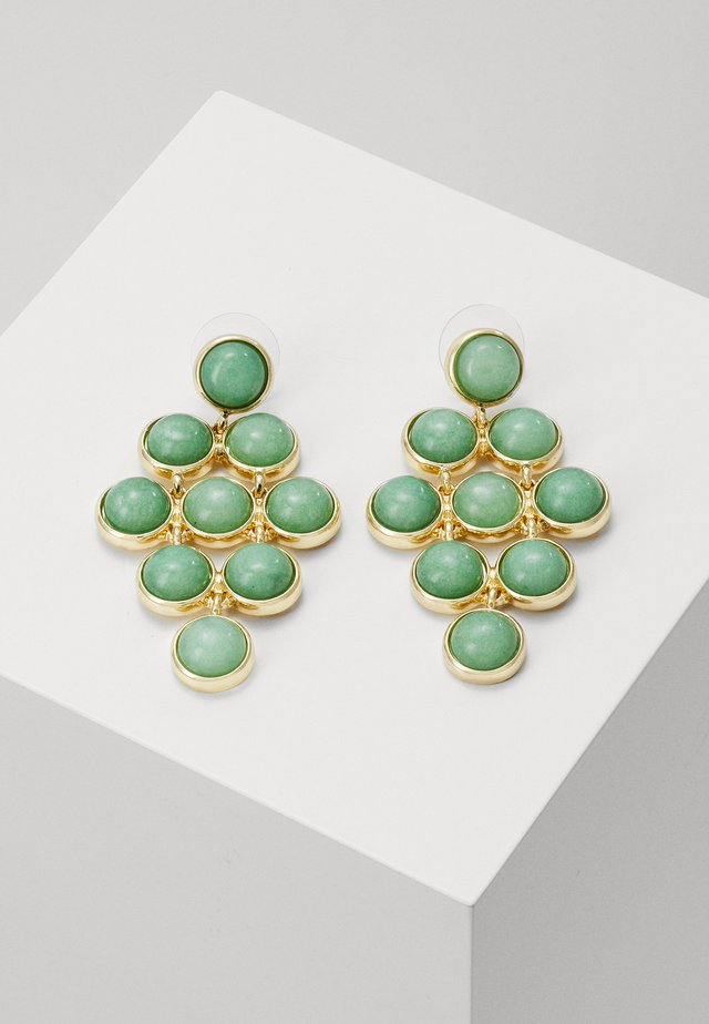 AGATHA SMALL STONE PENDANT EAR - Earrings - gold-coloured/green