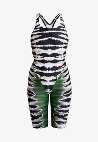 Speedo - HOUSE OF HOLLAND TIE DYE LEG SWIMSUIT - Swimsuit - black/green malti - 4