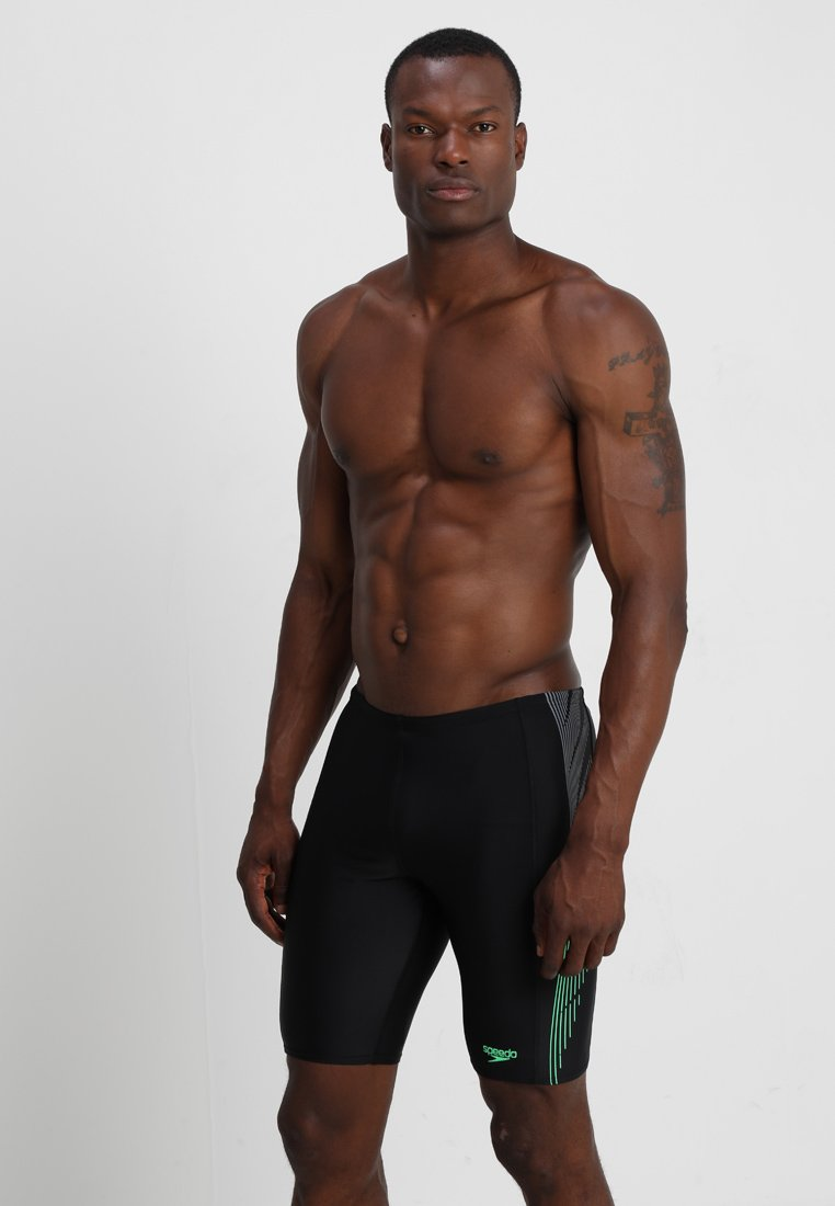 Speedo - PLACEMENT PANEL JAMMER - Zwemshorts - black/usa charcoal/fake green