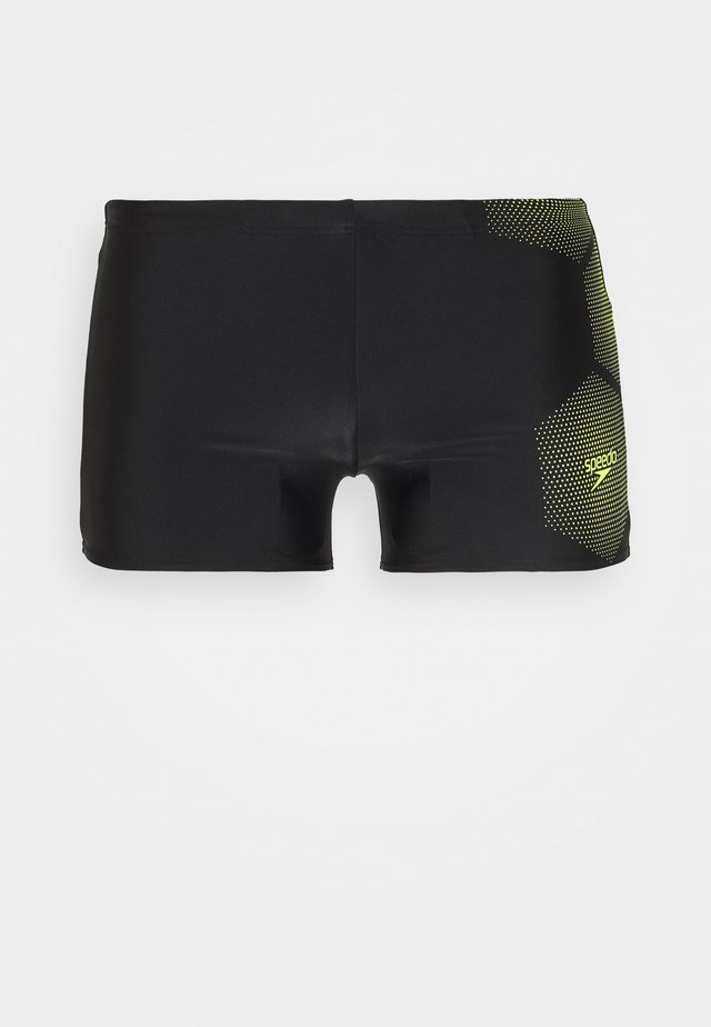 TECH PLACEMENT AQUASHORT - Badeshorts - black/fluo yellow