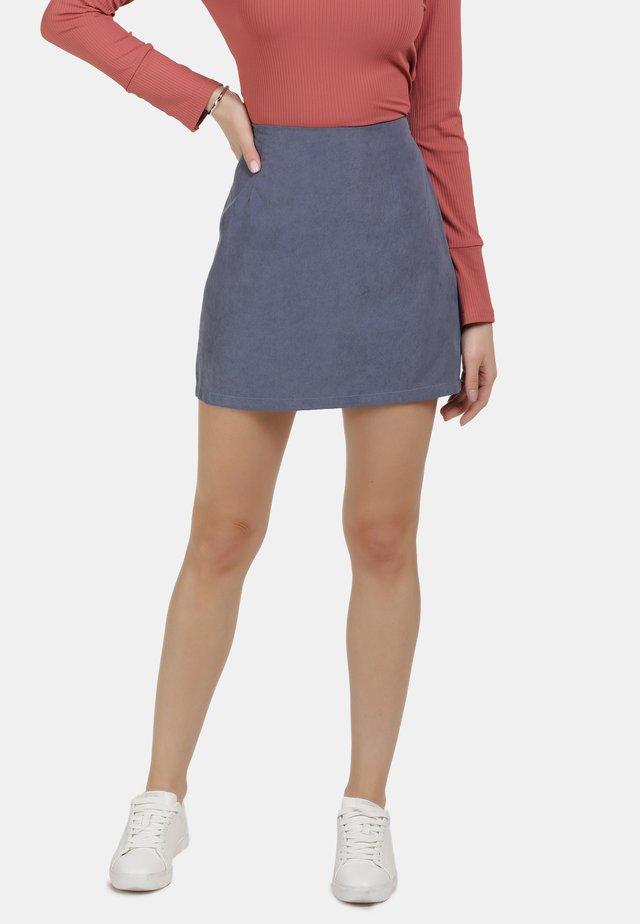 MINIROCK - A-snit nederdel/ A-formede nederdele - denim blau
