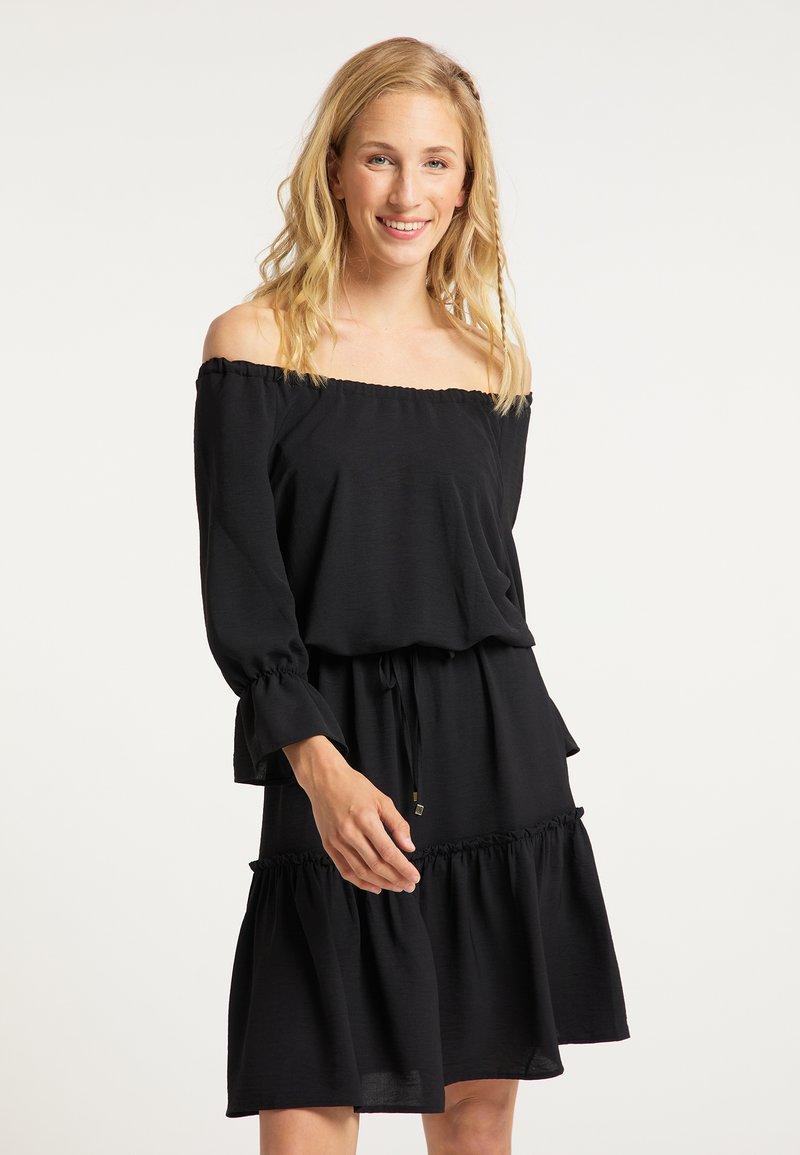 usha - BLUSENKLEID - Korte jurk - schwarz