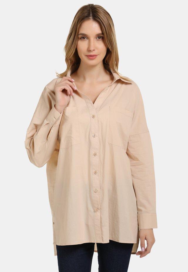 BLUSE - Button-down blouse - beige