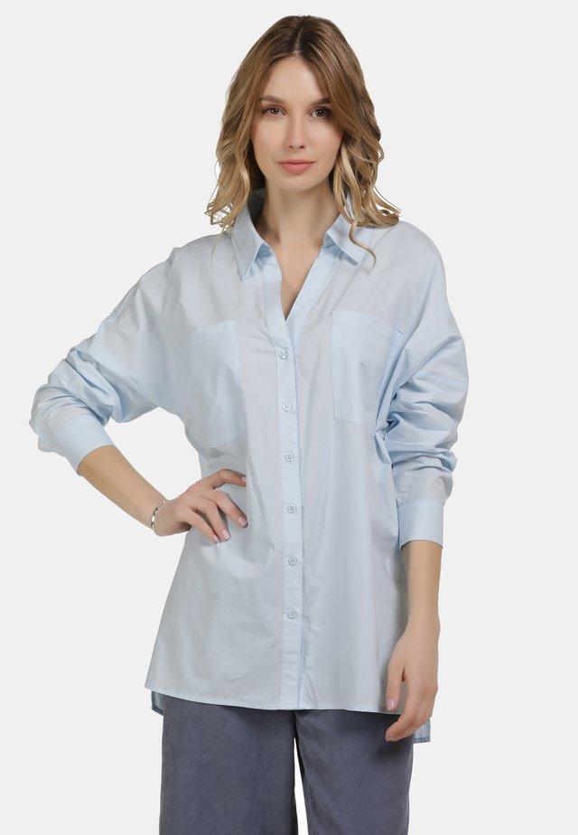 BLUSE - Button-down blouse - hellblau