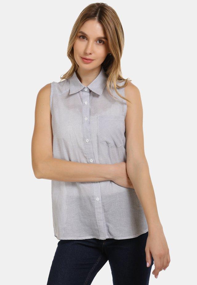BLUSENTOP - Button-down blouse - grau gestreift