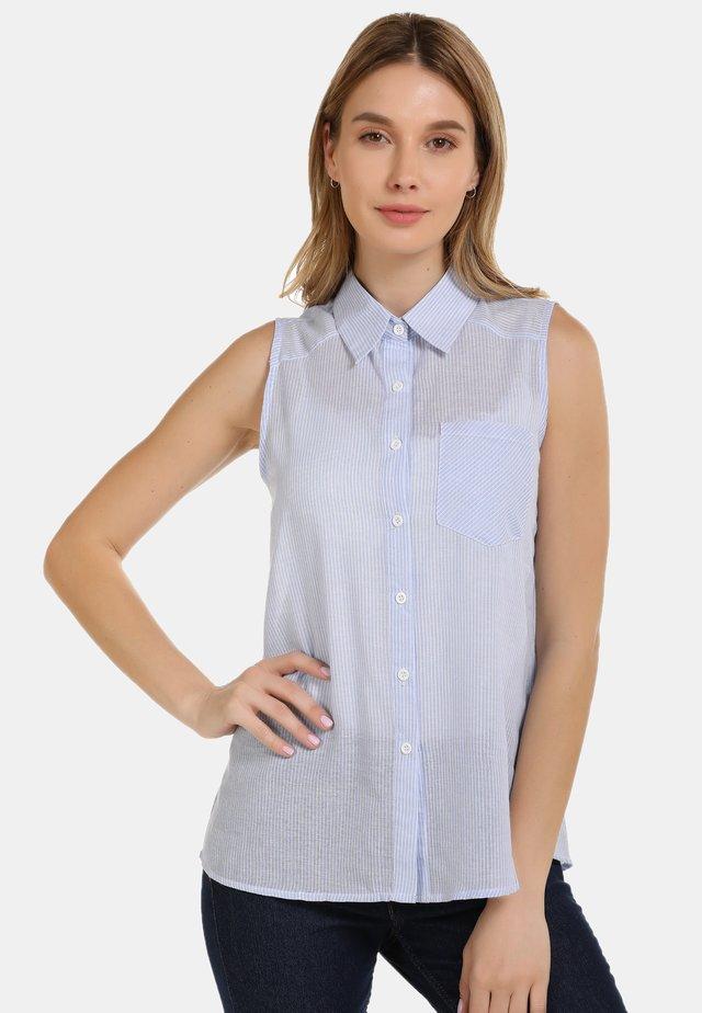 BLUSENTOP - Button-down blouse - hellblau gestreift