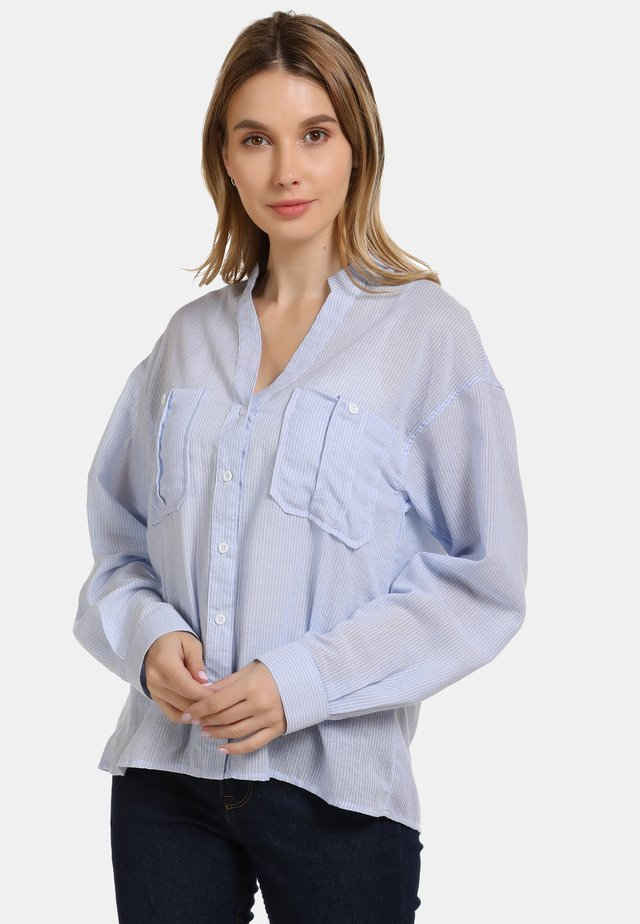HEMDBLUSE - Button-down blouse - hellblau gestreift