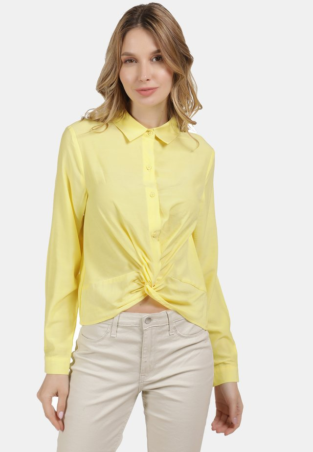 BLUSE - Button-down blouse - hellgelb