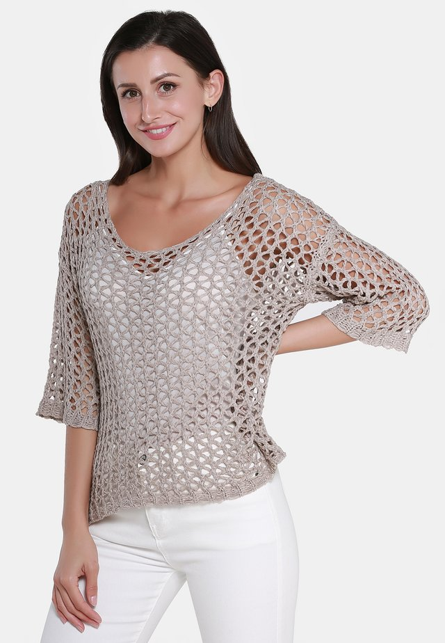 PULLOVER - Strickpullover - taupe