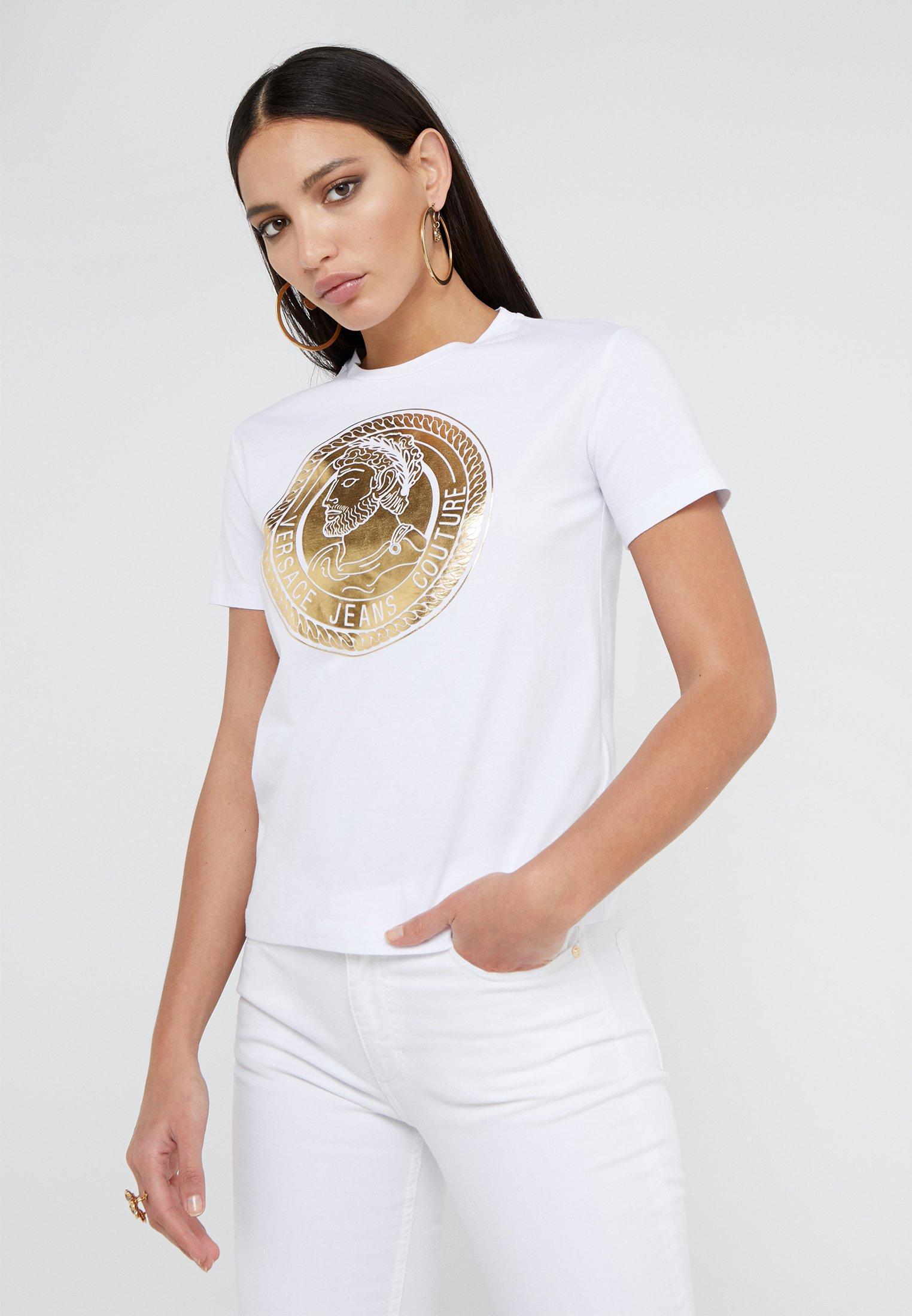 Versace Jeans Couture T-shirt z nadrukiem - bianco ottico