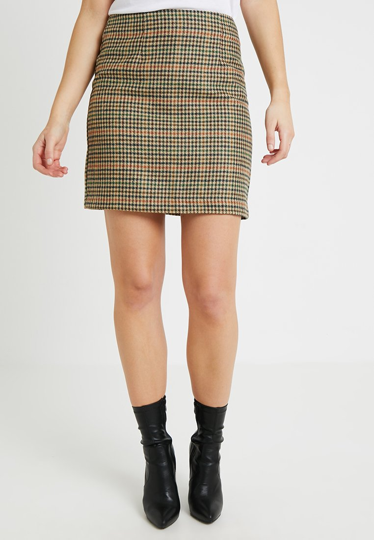 New Look - CHECK CALEB BRUSHED SKIRT - Minifalda - brown