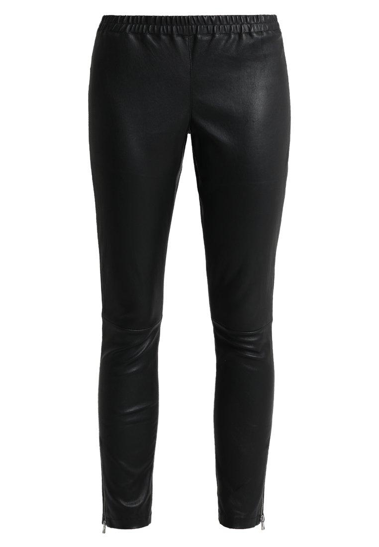 Ibana - HEARTY - Pantalón de cuero - black