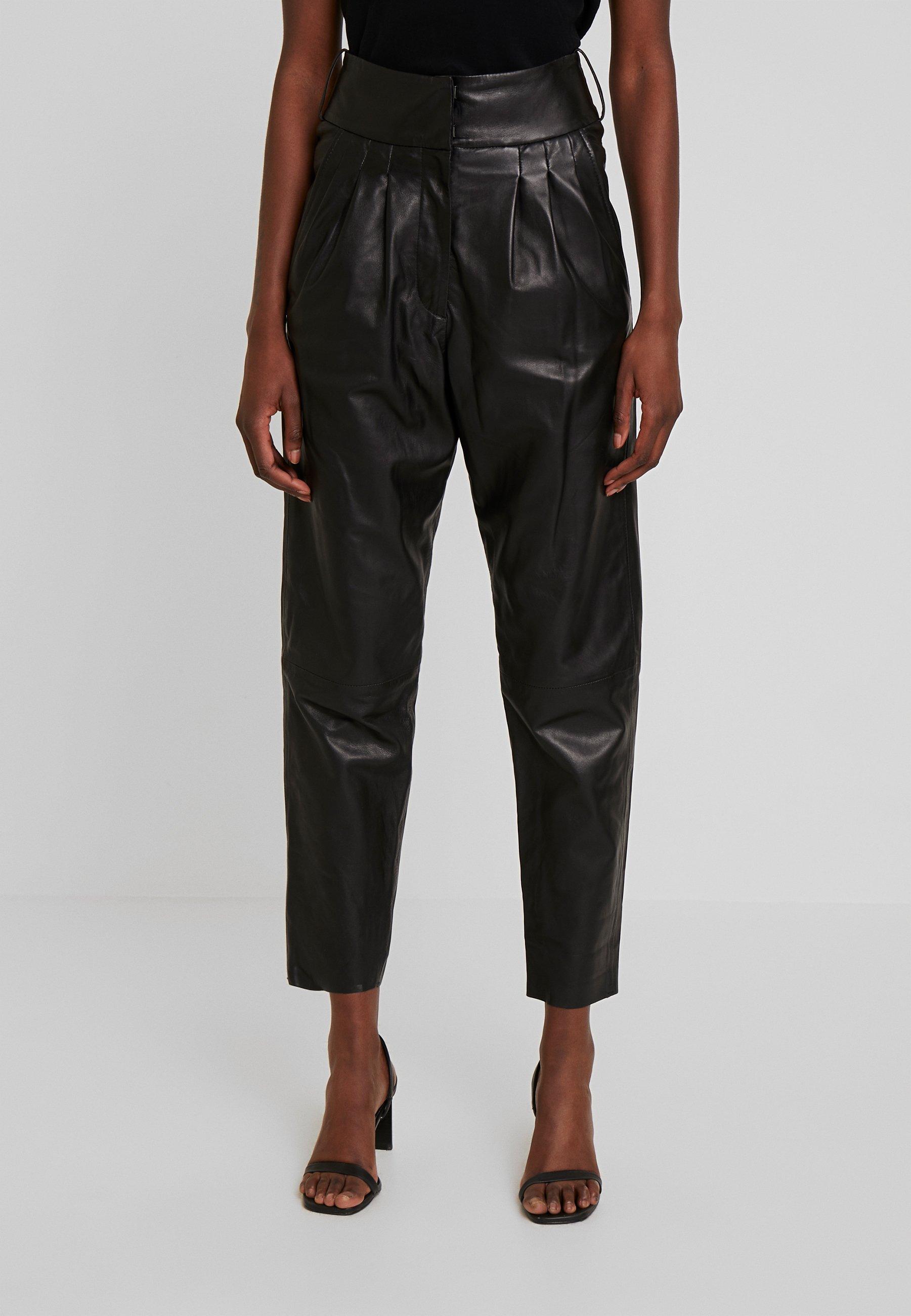 Ibana MARION - Spodnie skórzane - black