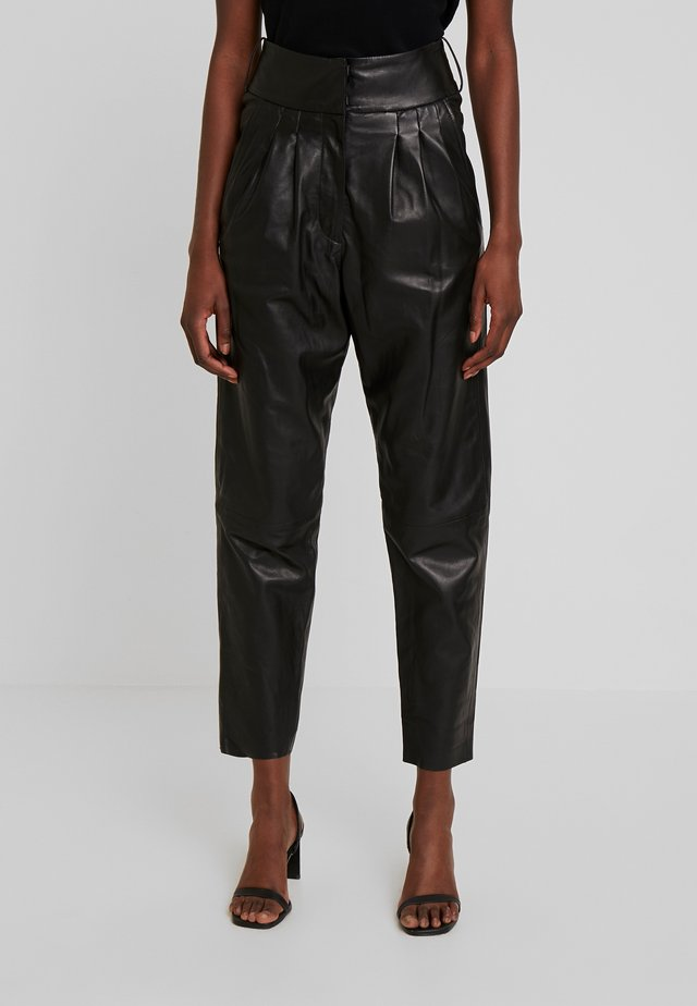 MARION - Leather trousers - black