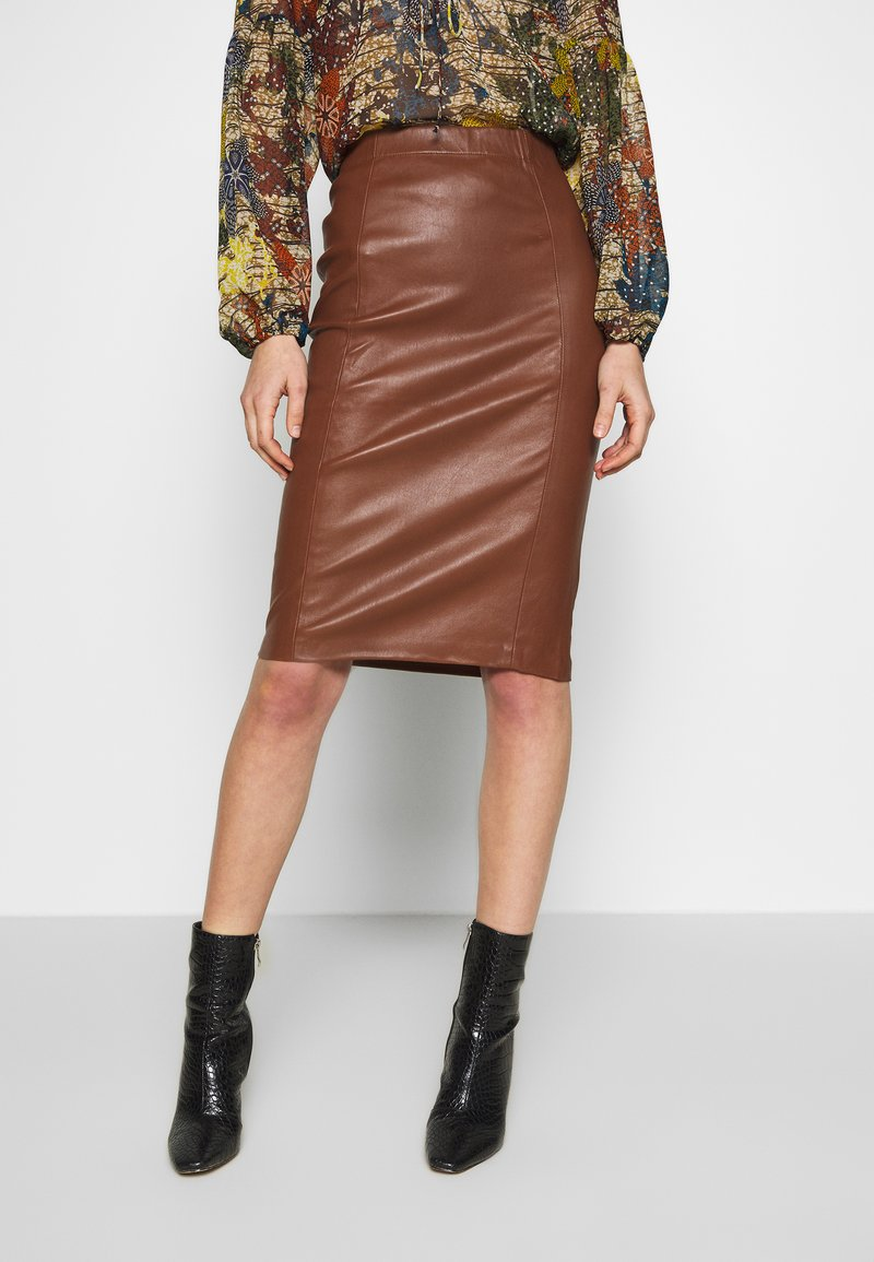 Ibana - EMILO - Pencil skirt - brown