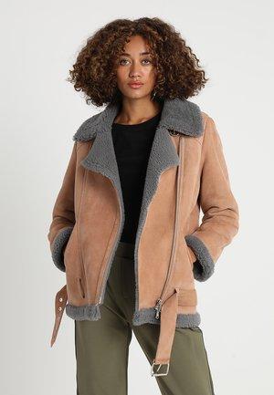 Leather jacket - cognac/mousegrey