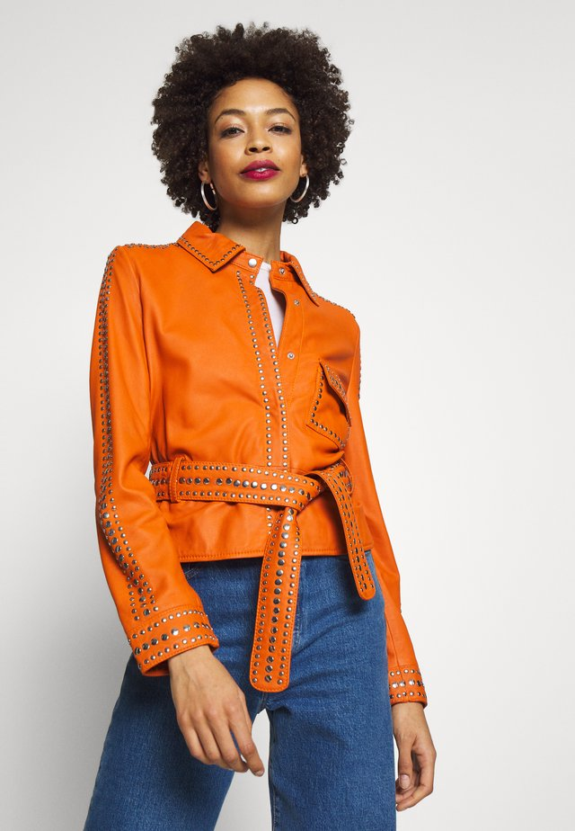 STEPHANIE - Veste en cuir - orange