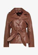 LILOU - Kožená bunda - brown