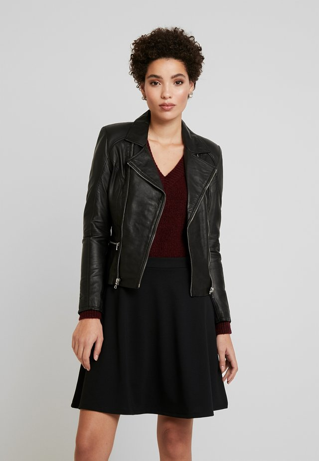 SADIE - Leather jacket - black