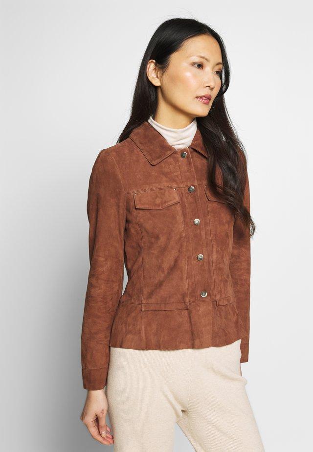 NIGELA - Leather jacket - brown