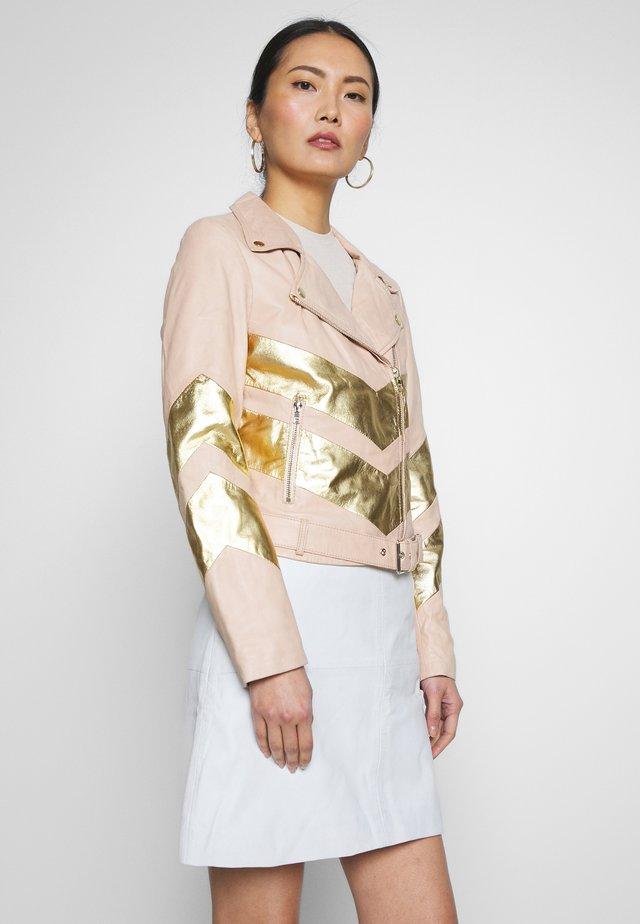 LOTTA - Leather jacket - nude gold