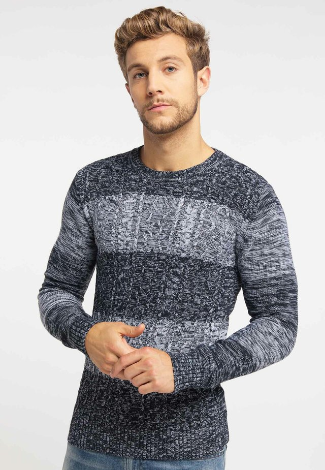 Strikpullover /Striktrøjer - marine light grey melange