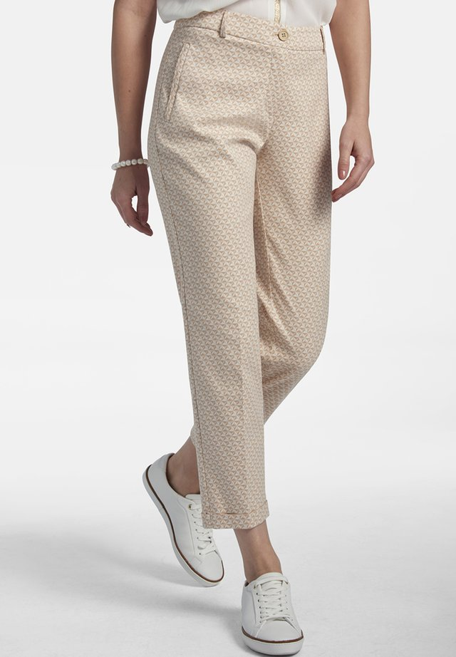 MIT ALLOVER-JACQUARD - Trousers - beige