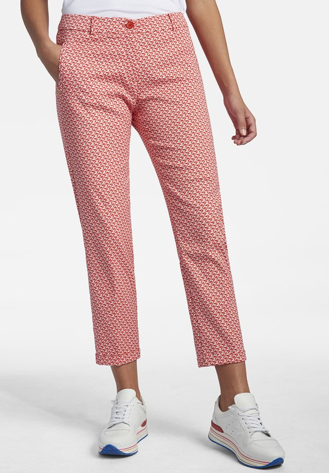 MIT ALLOVER-JACQUARD - Trousers - light red