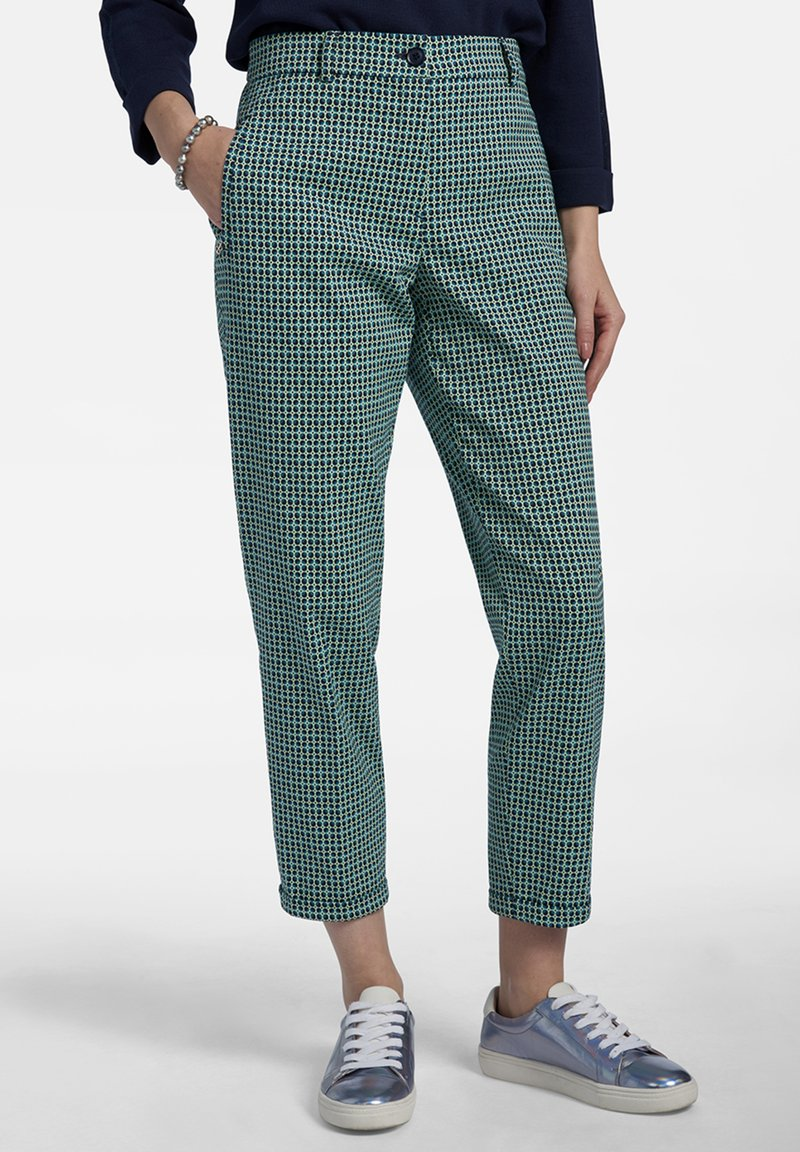 Basler - MIT ALLOVER-MUSTER UND 7/8-LÃNGE - Trousers - dark green