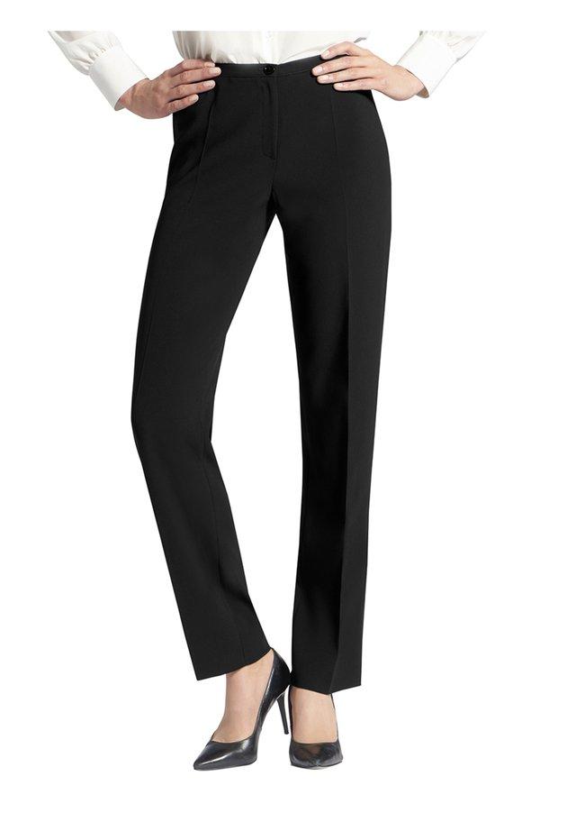HOSE IN UNI-DESIGN MIT BüGELFALTEN - Trousers - schwarz