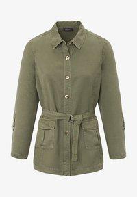 Basler - MIT UNIFARBIGEM DESIGN UND BINDEGÜRTEL - Summer jacket - green - 3