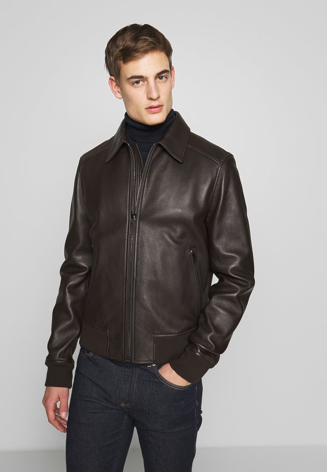 JACKET - Leather jacket - dark brown