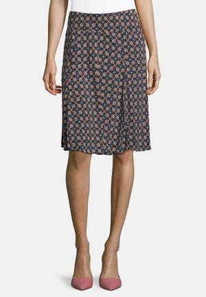 SCHLUPFROCK MIT AUFDRUCK - A-line skirt - blau/camel