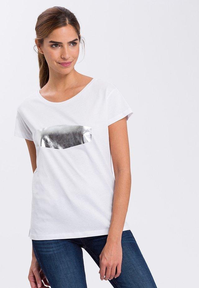 Print T-shirt - silver/white