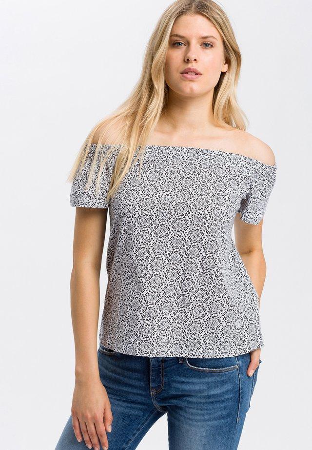 Print T-shirt - navy-ecru