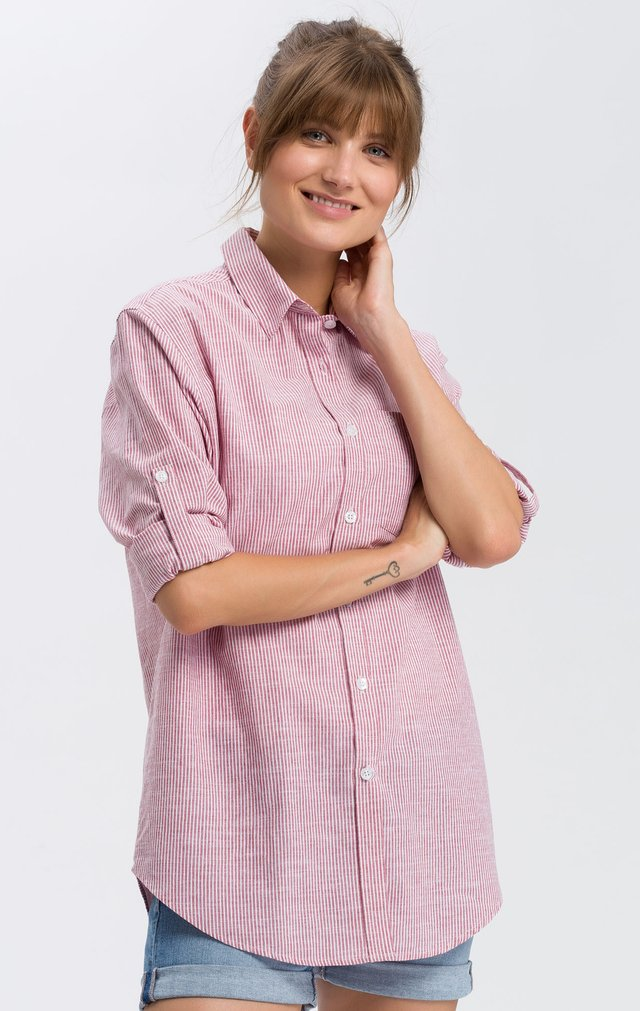 Button-down blouse - white-red