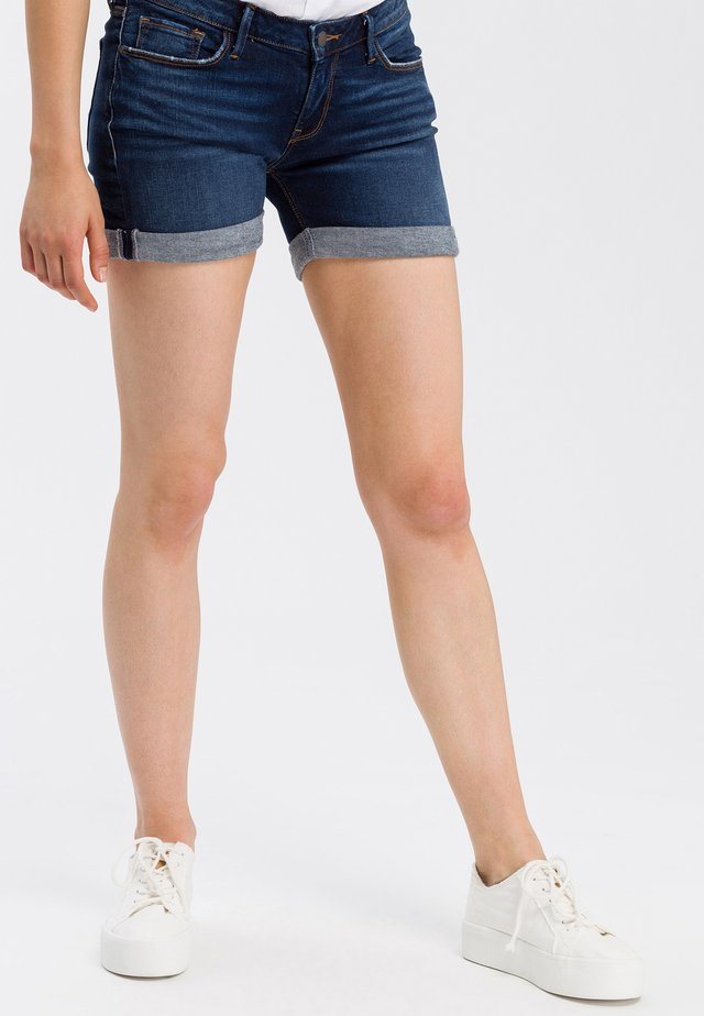 ZENA - Denim shorts - dark mid blue