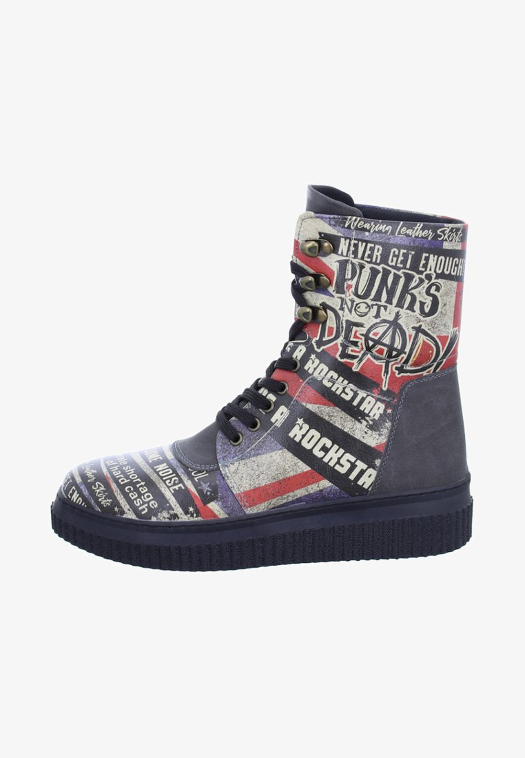 Dogo - BRITISH PUNK - Lace-up ankle boots - black/red
