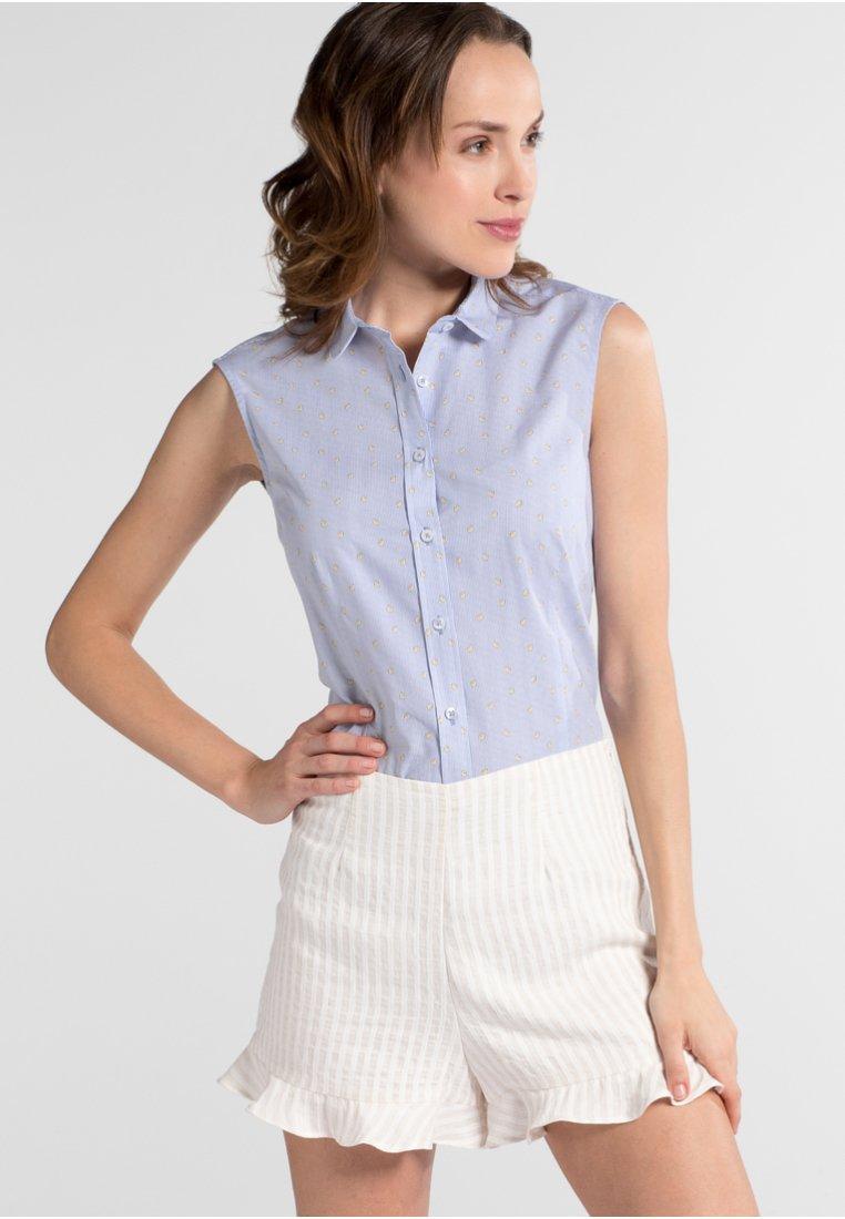 Eterna - SLIM FIT - Button-down blouse - blue/white