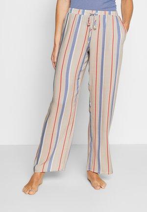 SLEEP & LOUNGE HOSE LANG - Pyjama bottoms - beige/blue