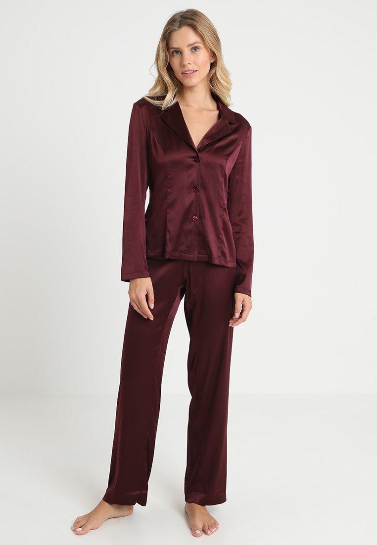 La Perla - LONG PAJAMAS SHORT VERSION SET - Pyjama set - bordeaux