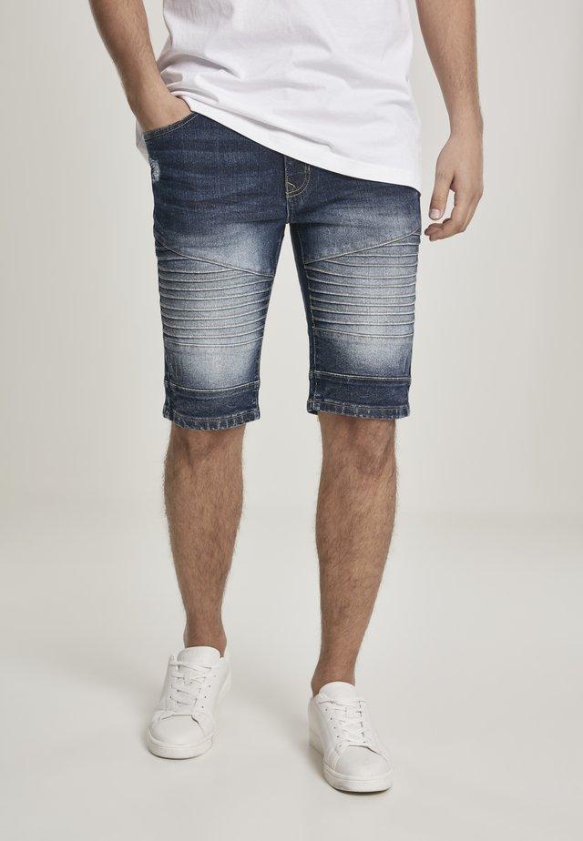 SOUTHPOLE HERREN BIKER DENIM SHORTS - Denim shorts - dk.sand blue