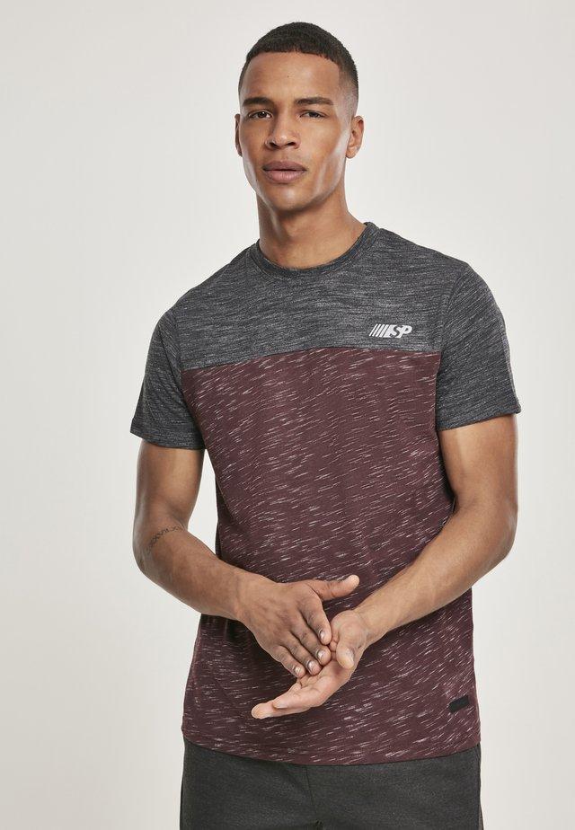 HERREN COLOR BLOCK TECH TEE - T-shirt print - marled grey